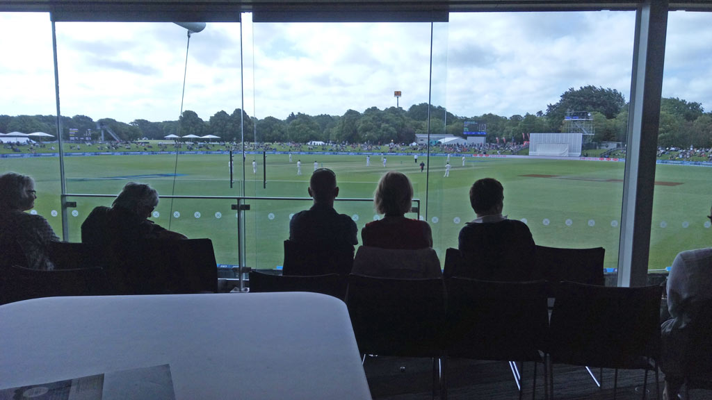 Watching NZ v Sri Lanka Cricket Test from inside Hagley Pavilion